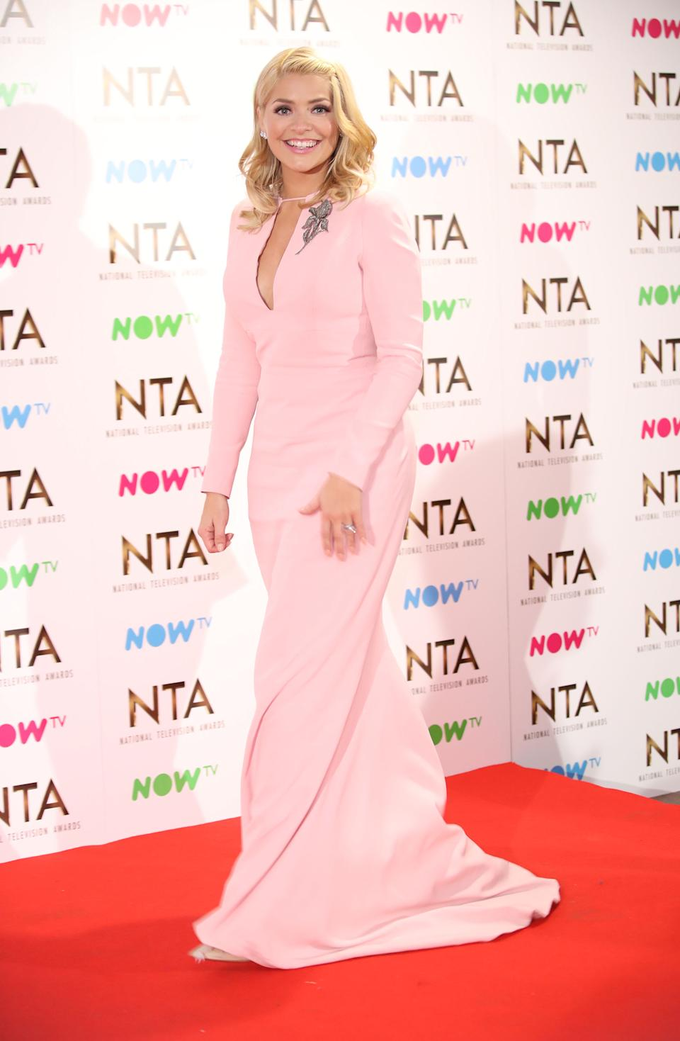 LONDON, ENGLAND - JANUARY 25: Holly Willoughby  poses in the winners room at the National Television Awards at The O2 Arena on January 25, 2017 in London, England.  (Photo by Mike Marsland/Mike Marsland/WireImage)