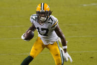 Green Bay Packers wide receiver Davante Adams (17) runs against the San Francisco 49ers during the second half of an NFL football game in Santa Clara, Calif., Thursday, Nov. 5, 2020. (AP Photo/Tony Avelar)