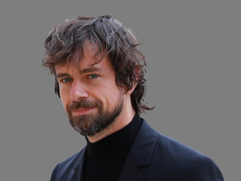 Jack Dorsey headshot, Twitter co-founder and CEO, and Square founder and CEO, graphic element on gray