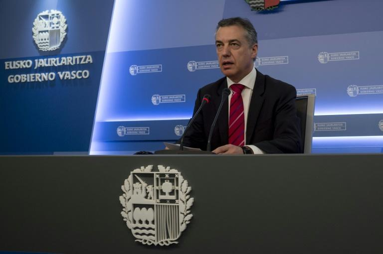 Inigo Urkullu -- the head of the Basque regional government -- announces that ETA is ready to give up its weapons, as he addresses reporters in Donostia, on March 17, 2017