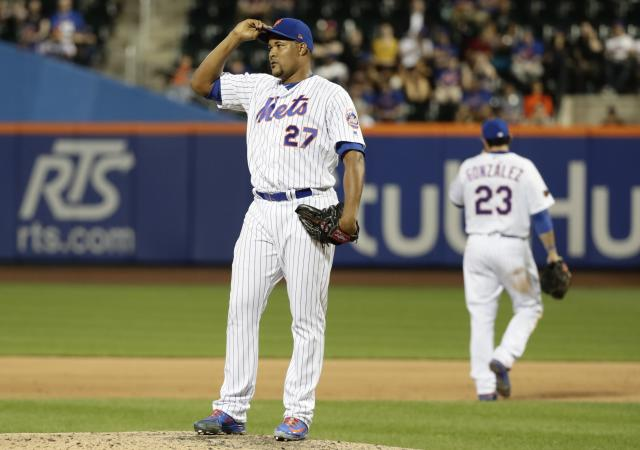 New York Mets relief pitcher Jeurys Familia (27) reacts during the ninth inning of a baseball game against the Miami Marlins Wednesday, May 23, 2018, in New York. The Marlins won 2-1. The Marlins won 2-1. (AP Photo/Frank Franklin II)