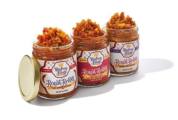 <p>Won't you try this <span>Winfrey Foods Royal Relish Original Chow Chow Relish</span> ($45 for three)?</p>