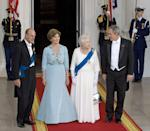 <p>The Queen and Prince Philip chat with President George W. Bush and First Lady Laura Bush on the North Portico of the White House before a state dinner.</p>