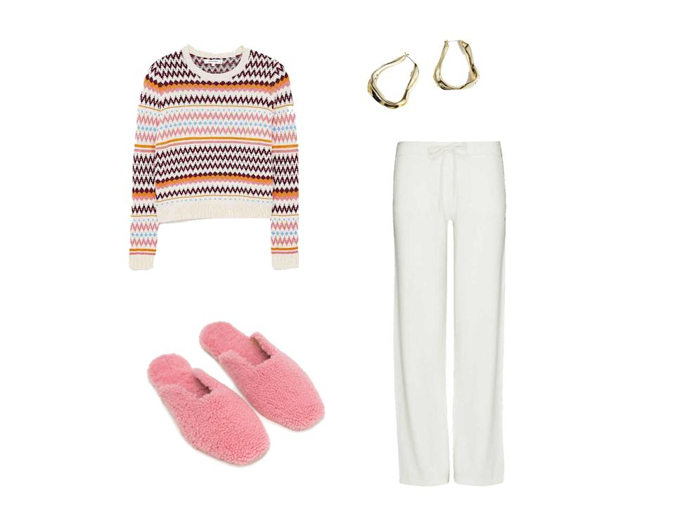 <p>Cream Pop Fair Isle Wool-Cashmere Sweater, £295, Chinti & Parker; Cream Cashmere Wide-Leg Pants, £250, Chinti & Parker; Pink Shearling Slippers, £200, Sleeper; Organic Oval Hoop Earrings, £23, & Other Stories</p>The Independent
