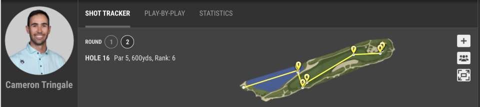 Shot tracker shows Cameron Tringale's 16th hole in the second round of the PGA Championship.