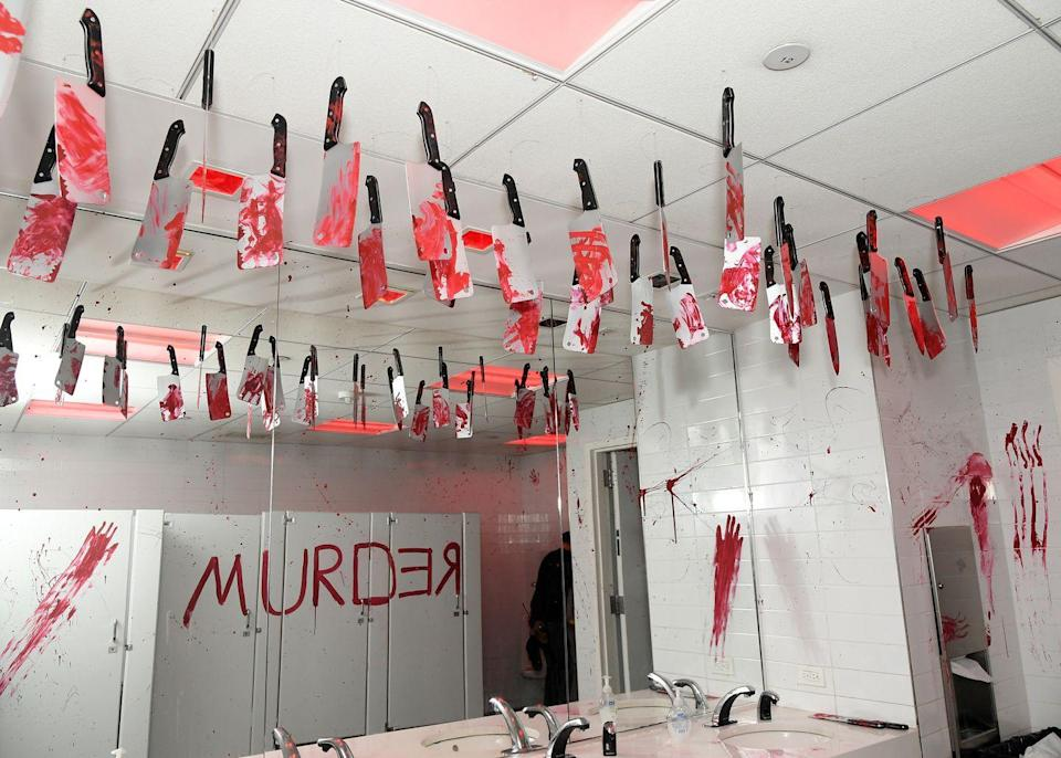 <p>At a foundation's event in New York City, the bathroom is decorated in the scariest way, making you want to get in and out as soon as possible. </p>