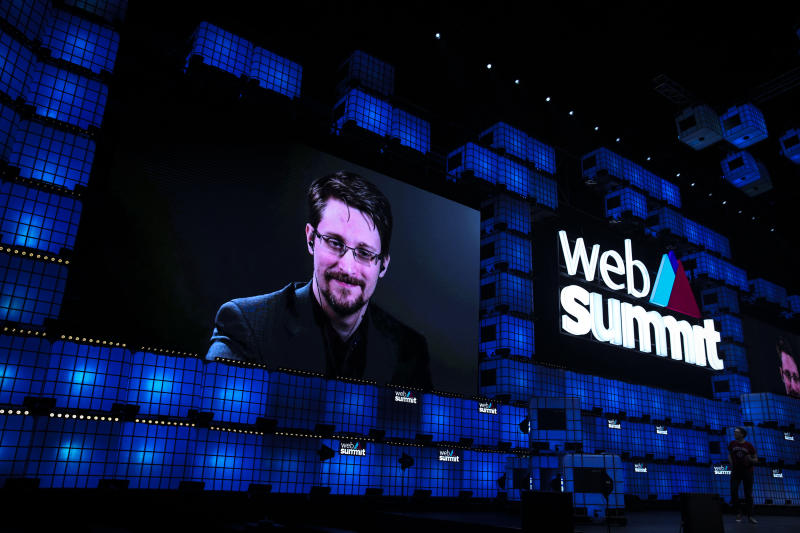 US whistleblower Edward Snowden holds a video-conference during the Web Summit in Lisbon on November 4, 2019. Photo: CARLOS COSTA/AFP via Getty Images