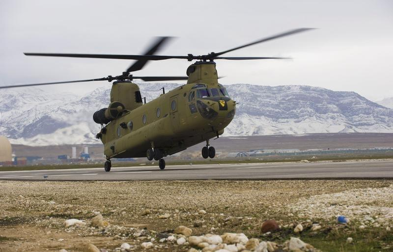 U.S. Army handout file photo shows a CH-47F Chinook helicopter landing at Camp Marmal in Mazar-e Sharif province