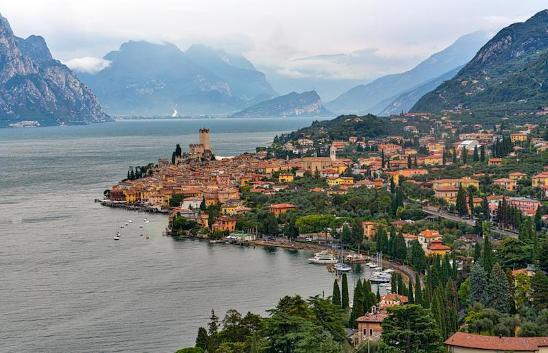 Malcesine, Italy - October 11, 2016: View at Malcesine and the Gardasee.