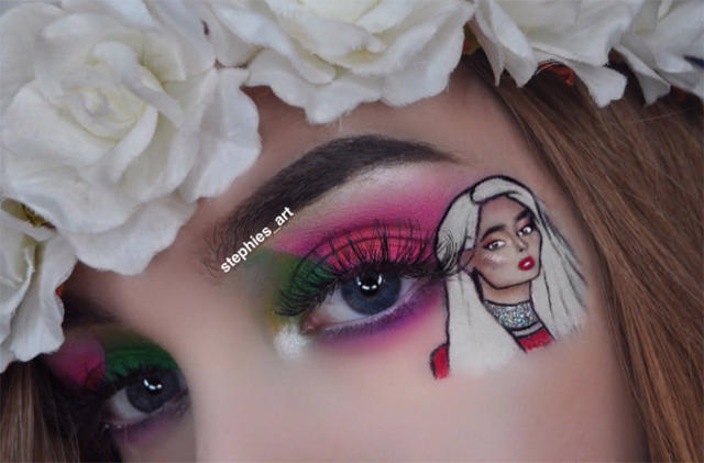 Stephanie Crow took fan art to the next level, painting Bebe Rexha on her eyes. (Photo: Twitter/stephies_art)