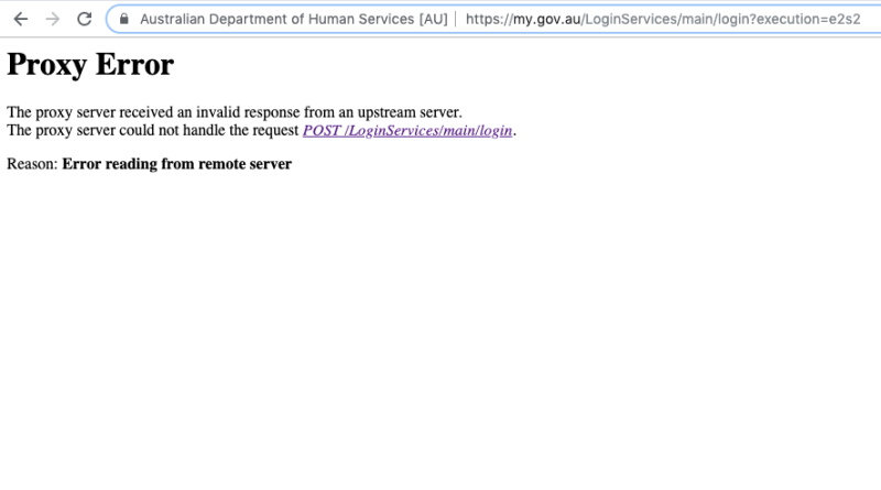 Pictured: Error sign myGov users receive when they attempt to access the site which has crashed. Image: myGov