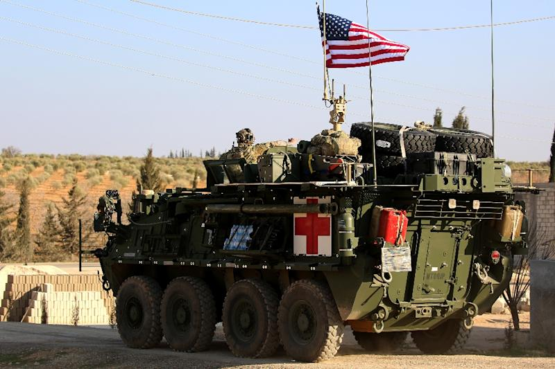 US forces with armored vehicles have been supporting the fight against IS in Syria (AFP Photo/DELIL SOULEIMAN)