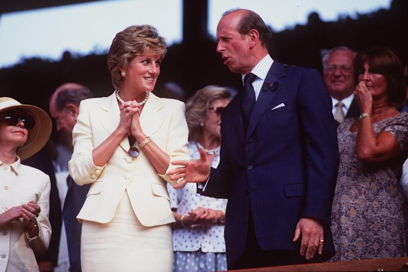 Princess Diana chats with the Prince of Kent after Pete Sampras wins the Men's Final against Boris Becker of Germany at Wimbledon on July 9th, 1995. Photo courtesy of Getty images.