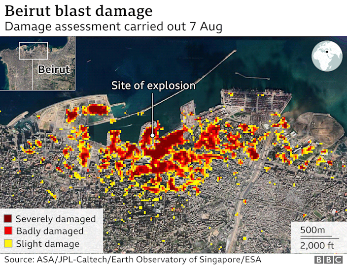 Nasa damage assessment of Beirut following 4 August 2020 explosion