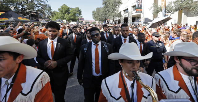 "Texas Longhorns football players take part in ""The Stampede"" before the game with the LSU Tigers Saturday Sept. 7, 2019 at Darrell K Royal-Texas Memorial Stadium in Austin, Tx. ( Photo by Edward A. Ornelas )"