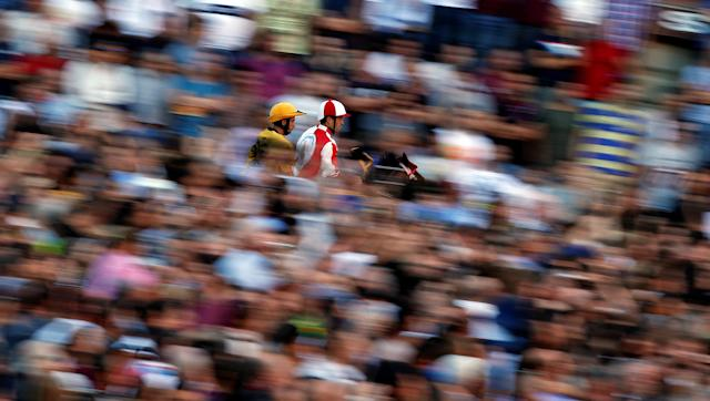 "Jockey Jonatan Bartoletti of ""Giraffa"" (Giraffe) parish leads during the second practice for the Palio of Siena, Italy July 1, 2017. REUTERS/Stefano Rellandini"