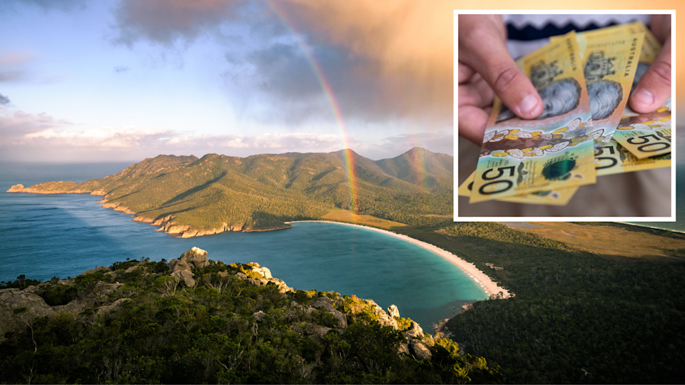 Image of Tasmania with rainbow and $50 bank notes