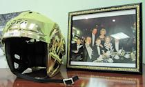 Everyone has a golden helmet by a framed photo of Detroit's Ilitch family in their office like Sergei Fedorov does, don't they? (#NickInEurope)