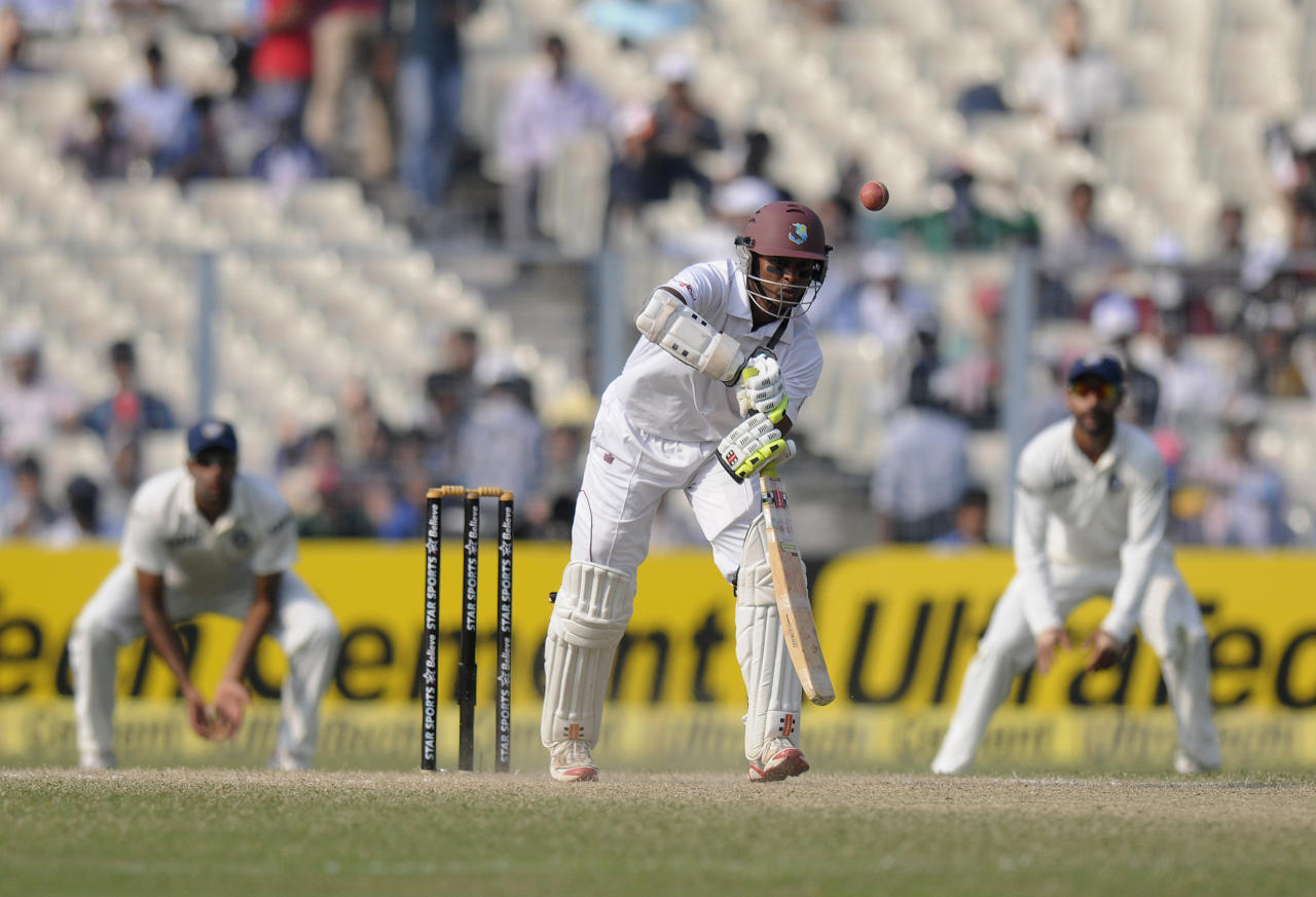Shivnarine Chanderpaul of West Indies bats during day three of the first Star Sports test match between India and The West Indies held at The Eden Gardens Stadium in Kolkata, India on the 8th November 2013  Photo by: Pal Pillai - BCCI - SPORTZPICS