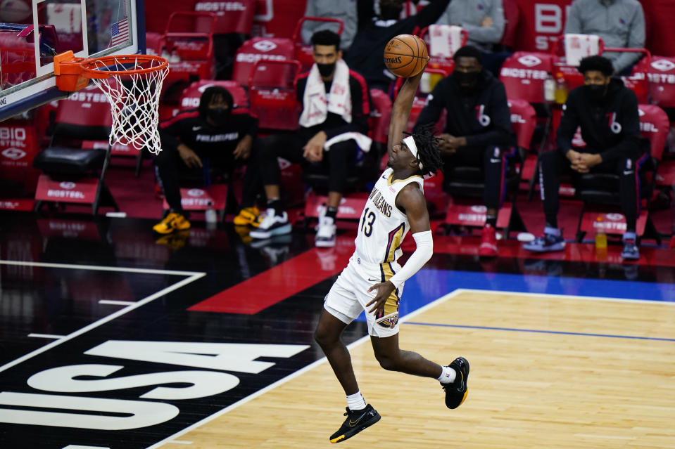 New Orleans Pelicans' Kira Lewis Jr. goes up for a dunk during the second half of an NBA basketball game against the Philadelphia 76ers, Friday, May 7, 2021, in Philadelphia. (AP Photo/Matt Slocum)