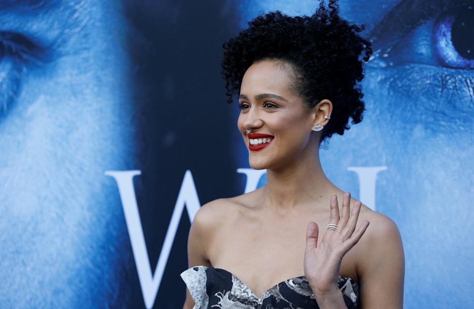 """Cast member Nathalie Emmanuel poses at a premiere for season 7 of the television series """"Game of Thrones"""" in Los Angeles, California, U.S., July 12, 2017. REUTERS/Mario Anzuoni"""