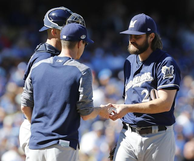 Brewers pitcher Wade Miley (No. 20) is slated to start NLCS Game 6 after starting Game 5 and facing only one batter. (AP)