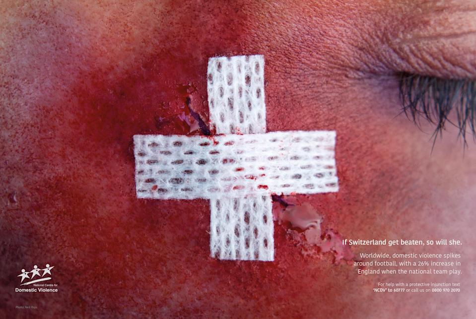 According to a recent study, domestic violence cases increase by 26% when England play and 38% when the team loses [Photo: JWT]