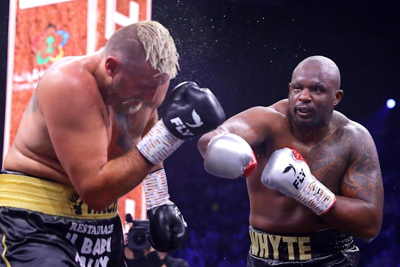 Whyte battled to a unanimous decision victory against Wach on his return ( via Getty Images)