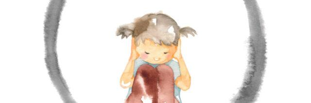 Illustration of girl covering her ears inside a circle