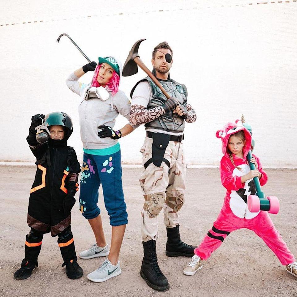 """<p>If your kid would classify themselves as a <em>gamer,</em> then they totally know who these characters are. Totally perfect for a DIY costume or a more formal route, your little <em>Fortnite</em> fans will be thrilled to dress as their favorite game this Halloween. </p><p><a class=""""link rapid-noclick-resp"""" href=""""https://www.amazon.com/s?k=fortnite+costumes&ref=nb_sb_noss_2&tag=syn-yahoo-20&ascsubtag=%5Bartid%7C2089.g.22530616%5Bsrc%7Cyahoo-us"""" rel=""""nofollow noopener"""" target=""""_blank"""" data-ylk=""""slk:Shop THE LOOKS""""><strong>Shop THE LOOKS</strong></a><br><strong><br></strong><strong>Instagram:</strong> <a href=""""https://www.instagram.com/p/Bn9oDeQgf_Q/"""" rel=""""nofollow noopener"""" target=""""_blank"""" data-ylk=""""slk:@themeleashow"""" class=""""link rapid-noclick-resp"""">@themeleashow</a></p>"""