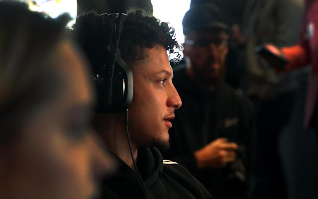NFL MVP Patrick Mahomes visits Treyarch in Santa Monica, California. (Photo by Randy Shropshire/Getty Images for Activision)