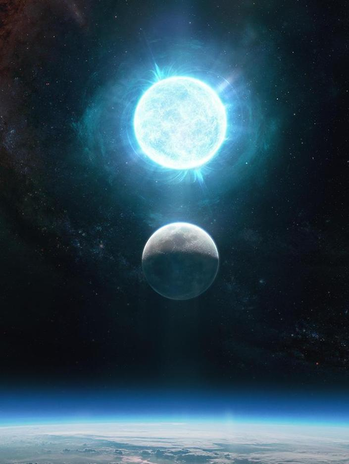 The white dwarf ZTF J1901+1458 is about 2,670 miles across, while the moon is 2,174 miles across. The white dwarf is depicted above the Moon in this artistic representation; in reality, the white dwarf lies 130 light-years away in the constellation of Aquila. / Credit: Giuseppe Parisi