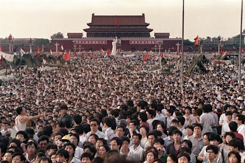 Protesters in Tiananmen Square on June 2, 1989 call for democracy in China. Photo: AFP