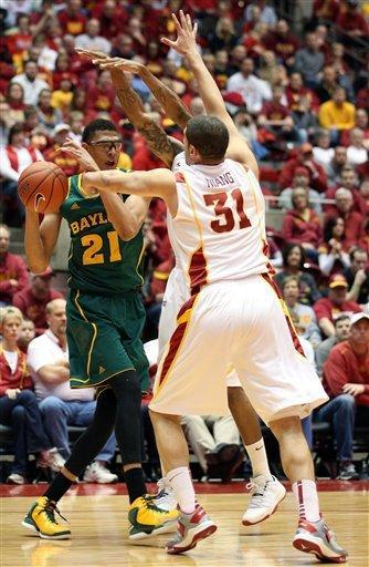 Baylor center Isaiah Austin (21) is pressured by Iowa State forward Georges Niang (31) in the first half of an NCAA college basketball game Saturday, Feb. 2, 2013, at Hilton Coliseum in Ames, Iowa. (AP Photo/Justin Hayworth)