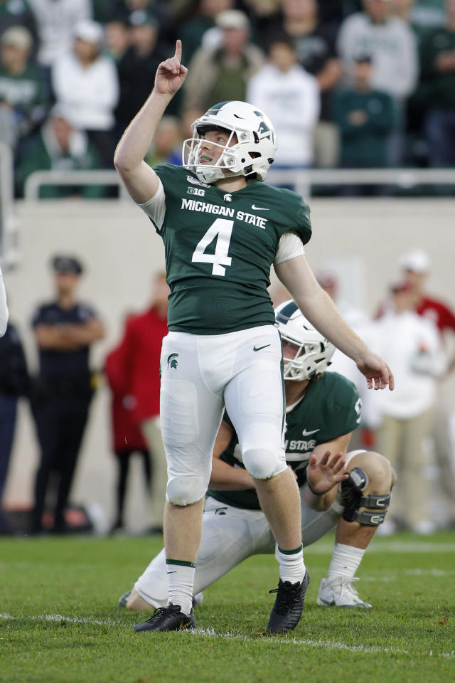 Michigan State kicker Matt Coghlin reacts as he watches his tie-breaking 21-yard field goal against Indiana with 5 seconds remaining during the fourth quarter of an NCAA college football game, Saturday, Sept. 28, 2019, in East Lansing, Mich. (AP Photo/Al Goldis)