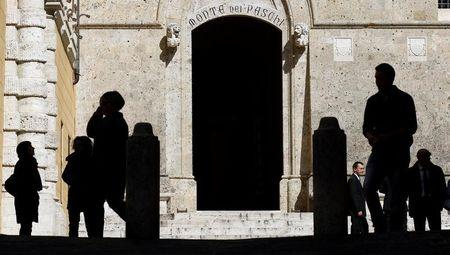 The main entrance of the Monte dei Paschi bank headquarters is seen in Siena