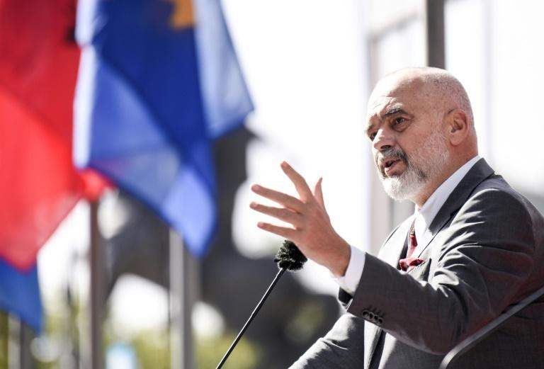 Albanian PM Edi Rama visited Kosovo and criticised Serbia's 'theatrical military manoeuvres' (AFP/Armend NIMANI)