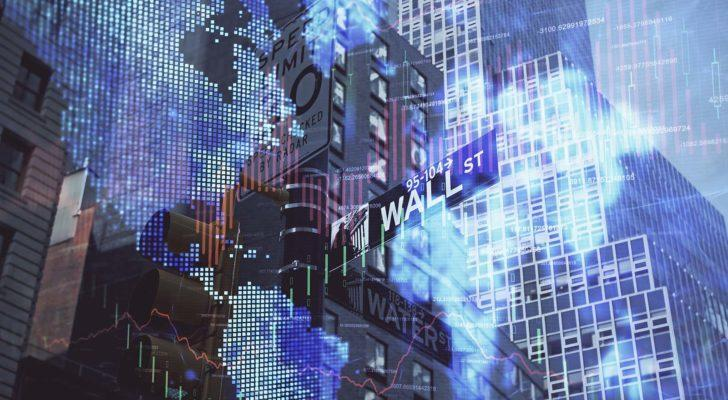 A forex chart placed over an image of the Wall Street sign and skyscrapers.