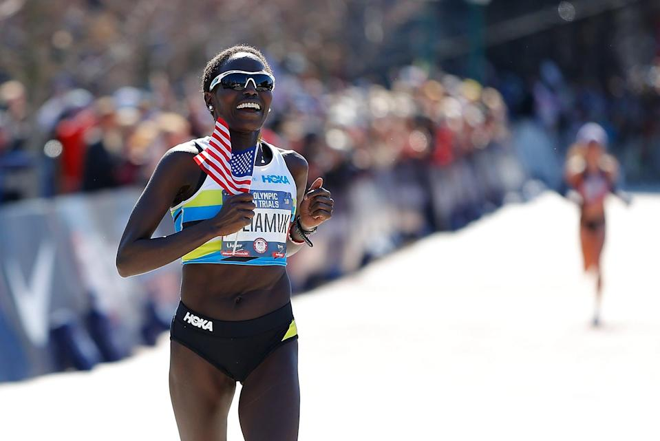 """<p><strong>Sport:</strong> Marathon<br> <strong>Country:</strong> USA</p> <p>Tuliamuk surprised the running world when she <a href=""""https://www.popsugar.com/fitness/tokyo-olympics-american-marathoners-2020-47265589"""" class=""""link rapid-noclick-resp"""" rel=""""nofollow noopener"""" target=""""_blank"""" data-ylk=""""slk:won the US Olympic Marathon Trials"""">won the US Olympic Marathon Trials</a> in February, beating a strong field that included 2018 Boston Marathon champion and two-time Olympian Des Linden and half-marathon American record holder Molly Huddle. Tuliamuk, who was <span>born in Kenya</span> and became a US citizen in 2016, is a <a href=""""https://www.teamusa.org/usa-track-and-field/athletes/Aliphine-Tuliamuk"""" class=""""link rapid-noclick-resp"""" rel=""""nofollow noopener"""" target=""""_blank"""" data-ylk=""""slk:10-time national track and field champion"""">10-time national track and field champion</a> in events including the 25K, 20K, and 5K. Her Olympic Trials victory represented an inspiring comeback from injuries that left her driving an Uber and crocheting hats that she'd sell online. With a powerful story and undeniable speed, Tuliamuk will be a formidable force to watch in Tokyo.</p>"""