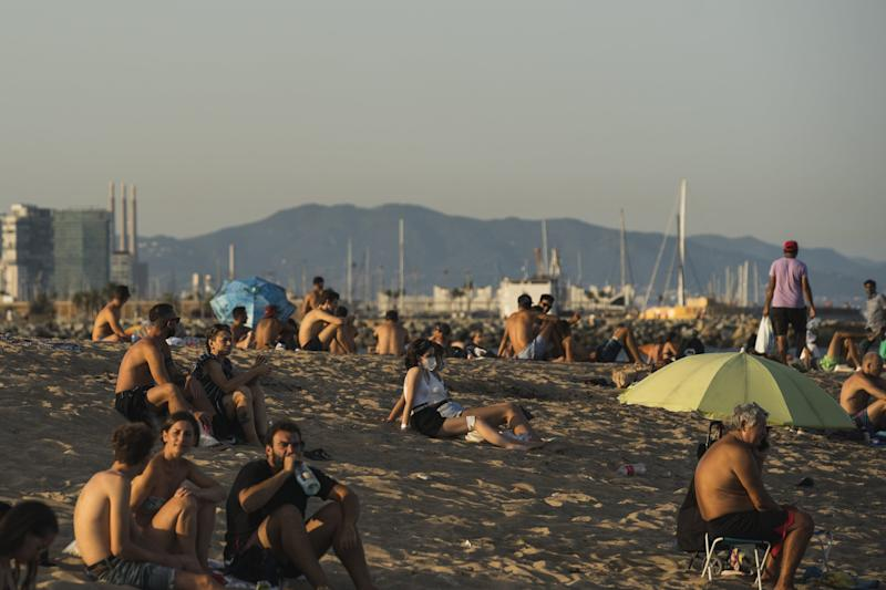 People gather at La Barceloneta on July 27, 2020 in Barcelona, Spain (Getty Images)