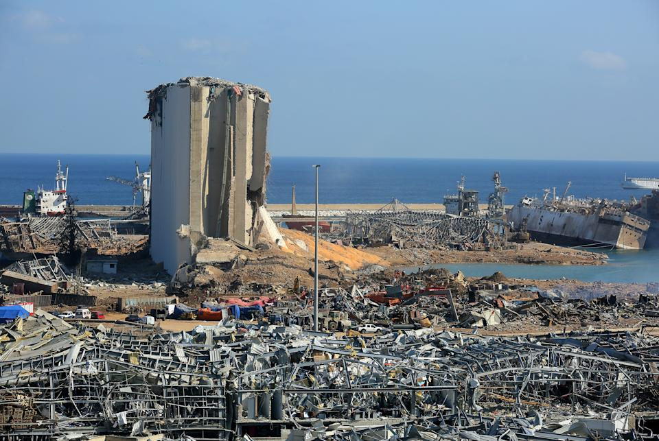 A general view of the destroyed Port of Beirut. (Getty)