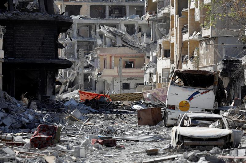 A view of a part of downtown Raqqa after it was liberated from ISIS on Oct. 17, 2017. (Erik de Castro / Reuters)