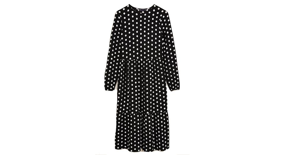 Jersey Polka Dot Midi Tiered Dress