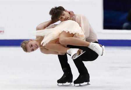 Figure Skating - ISU European Championships 2018 - Ice Dance Free Dance - Moscow, Russia - January 20, 2018 - Alexandra Stepanova and Ivan Bukin of Russia compete. REUTERS/Grigory Dukor