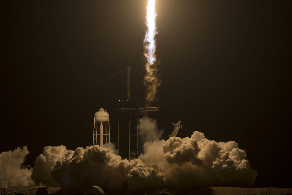 A SpaceX Falcon 9 rocket carrying the company's Crew Dragon spacecraft is launched on NASA's SpaceX Crew-2 mission to the International Space Station with NASA astronauts Shane Kimbrough and Megan McArthur, ESA (European Space Agency) astronaut Thomas Pesquet, and Japan Aerospace Exploration Agency (JAXA) astronaut Akihiko Hoshide onboard, Friday, April 23, 2021, at NASA's Kennedy Space Center in Florida. (Aubrey Gemignani/NASA via AP)