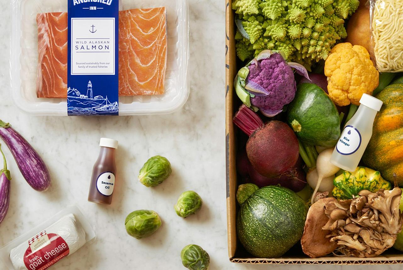 """<p>Instead of spending all night at the grocery store or in the kitchen, Blue Apron delivers pre-measured ingredients for simple recipes straight to your door.<br></p><p>Meals start at <a rel=""""nofollow"""" href=""""https://www.blueapron.com/pages/pricing"""">just $9.99 per serving</a> and you can choose the two-person plan (which comes with two or three meals per week) or the family plan (which comes with up to four meals per week). If you're a wino, check out the company's <a rel=""""nofollow"""" href=""""https://www.blueapron.com/wine"""">wine delivery options</a>. </p><p><a rel=""""nofollow"""" href=""""https://www.blueapron.com/"""">SUBSCRIBE NOW</a></p>"""