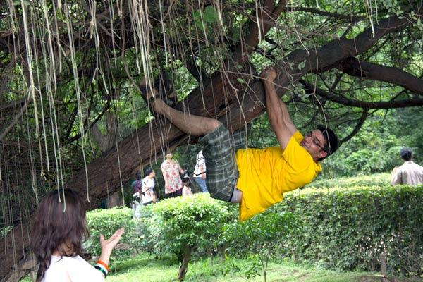 "<em>""Trees ko apna banao …crazy kehlao.""</em><br><br>Konark, a full-time professional, stays near a green belt in Delhi and he is very proud of the green belt. For past many years he goes for regular walks to the green belt and takes active interest in the maintaince of the plants and flowers over there. On Sunday, I found him spontaneously hugging a tree to explain to the young girl at the park- the importance of greenery!"