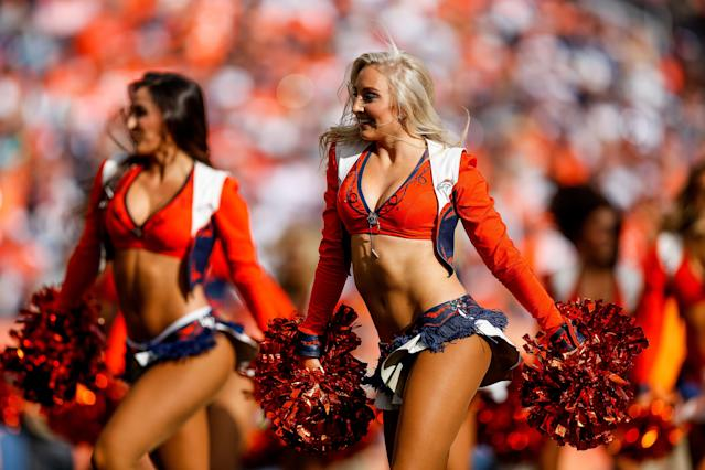 <p>Denver Broncos cheerleaders perform during a game between the Denver Broncos and the Dallas Cowboys at Sports Authority Field at Mile High on September 17, 2017 in Denver, Colorado. (Photo by Justin Edmonds/Getty Images) </p>