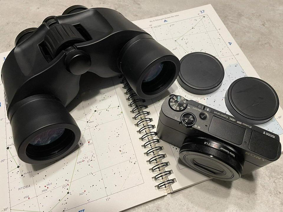 Amateur astronomer Jeremy Ratnam has his Pentax 8X40 binoculars and Sony RX100V camera ready to capture the event.