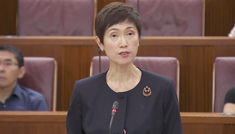 Minister of Manpower and Second Minister of Home Affairs Josephine Teo. (SCREENGRAB: Parliament)